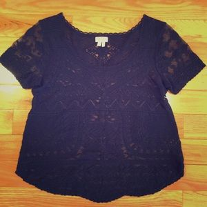 Anthropologie Navy Blue Embroidered Sheer Top